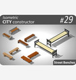 set of modern isometric street benches vector image