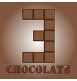 The number of bars chocolateThree vector image