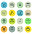 set of 16 farm icons includes decorative plant vector image