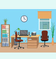 office room interior with furniture and equipment vector image