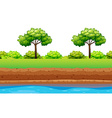 Green trees and bushes along the river vector image