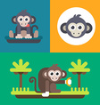 Animals A set of three bright of funny monkey vector image