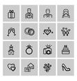 black wedding icons set vector image