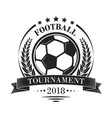 footbal tournament logotype or emblem in retro vector image