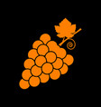 grapes sign orange icon on black vector image