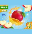 red apple fresh juice advetising vector image