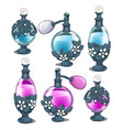 six perfume bottles with silver floral ornament vector image