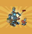 family retro robots dad and baby vector image