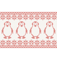 red knitted Background with penguins vector image