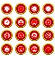 speedometer icon red circle set vector image