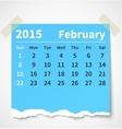 Calendar february 2015 colorful torn paper vector image vector image