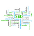 Tag cloud composed from words related to SEO vector image