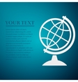 Geography earth globe flat icon on blue background vector image