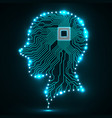 neon human head cpu circuit board vector image