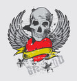 skull and wing vector image