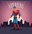 superhero costume comic standing with sunset city vector image