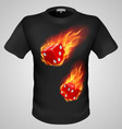 t shirts Black Fire Print man 18 vector image