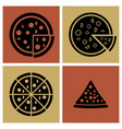 several style of pizza icons set vector image