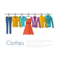 Racks with clothes on hangers vector image