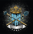 crest with grunge background vector image