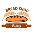 Natural organic bread icon with wheat rolling pin vector image