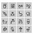 black bathroom icons set vector image