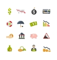 Finantial Crisis Flat Icons Set vector image