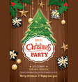 merry christmas party and tree on wooden vector image