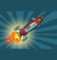 vintage astronaut in a small spaceship in space vector image
