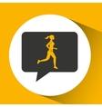 woman runner sport emblem laurel branch vector image