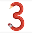 The number in the form of a bent pencil Three vector image