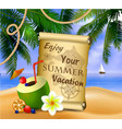 pirate treasure map on tropical background vector image