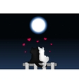 Couple of cats in love under the moonlight vector image