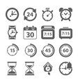 Time and Clock icons on white background vector image
