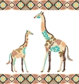 Creative giraffe pattern made from flowers leaves vector image