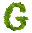 Letter G of green leaves alphabet vector image