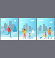 people and winter activities vector image
