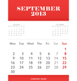 September 2013 calendar design vector image vector image