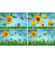 Scenes with bees and beehive vector image