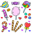 doodle of candy various colorful style vector image