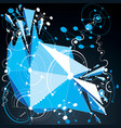 3d abstract blue background created in bauhaus vector image