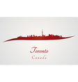 Toronto skyline in red vector image vector image