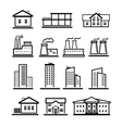 black buildings and factories icons set vector image vector image