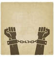 hands broken chains freedom concept old vector image