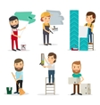 People with equipment repair house vector image vector image