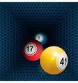 Metallic honeycomb tunnel and bingo balls vector image