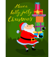 Christmas card with cute cartoon Santa Claus vector image