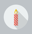 Christmas Flat Icon Candle vector image