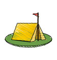 color crayon stripe image camping tent in grass vector image