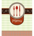 Cover menu with kitchenware vector image